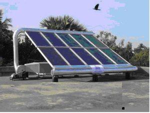 Gamabr 1. Contoh mesin pengering tenaga surya, 1). Kolektor,2),Kipas,3). kabinet atau bak pengering.(http://id.images.searcg.yahoo.com,2012).